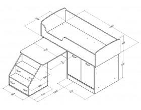 кровать чердак Дюймовочка-2 размеры