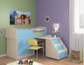 кровать чердак Дюймовочка-2 цвет дуб молочный / голубой