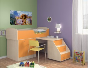 кровать чердак Дюймовочка-2 цвет дуб молочный / оранжевый