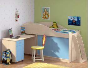 кровать чердак Дюймовочка-3 цвет дуб молочный / голубой + Дельта-23 лестница-4