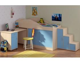 кровать чердак Дюймовочка-3 цвет дуб молочный / голубой + Дельта-23 лестница-6