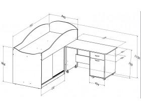 кровать чердак Дюймовочка-3 размеры