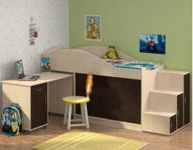 кровать чердак Дюймовочка-3 цвет дуб молочный / венге + Дельта-23 лестница-6