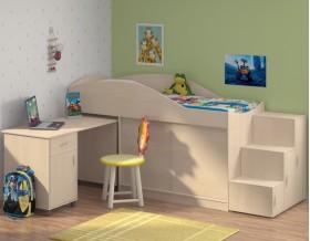 кровать чердак Дюймовочка-3 цвет дуб молочный + Дельта-23 лестница-6