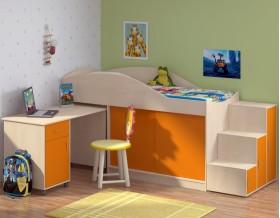 кровать чердак Дюймовочка-3 цвет дуб молочный / оранжевый + Дельта-23 лестница-6