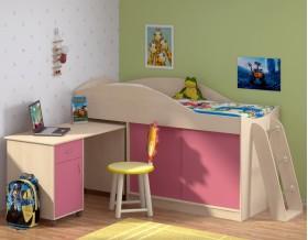 Дюймовочка-3 цвет дуб молочный / розовый + Дельта-23 лестница-4