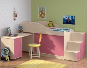 кровать чердак Дюймовочка-3 цвет дуб молочный / розовый + Дельта-23 лестница-6