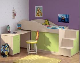 кровать чердак Дюймовочка-3 цвет дуб молочный / салатовый + Дельта-23 лестница-6