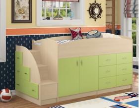 кровать чердак Дюймовочка-4 цвет дуб молочный / салатовый