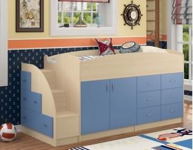 кровать чердак Дюймовочка-4 цвет дуб молочный / голубой