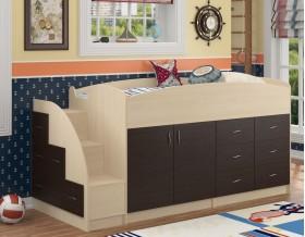 кровать чердак Дюймовочка-4 цвет дуб молочный / венге