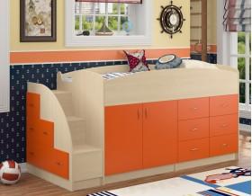 кровать чердак Дюймовочка-4 цвет дуб молочный / оранжевый