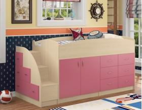 кровать чердак Дюймовочка-4 цвет дуб молочный / розовый