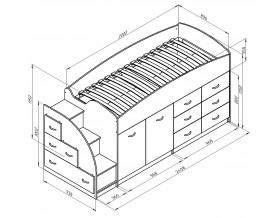 кровать чердак Дюймовочка-4 размеры