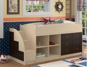 кровать чердак Дюймовочка-4.1 цвет дуб молочный / венге