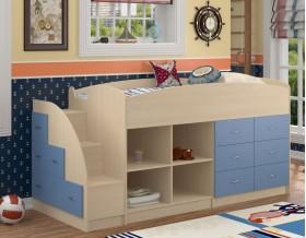 кровать чердак Дюймовочка-4.1 цвет дуб молочный / голубой