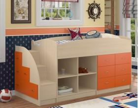 кровать чердак Дюймовочка-4.1 цвет дуб молочный / оранжевый