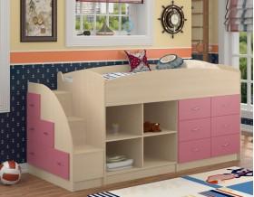 кровать чердак Дюймовочка-4.1 цвет дуб молочный / розовый