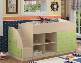 кровать чердак Дюймовочка-4.1 цвет дуб молочный / салатовый