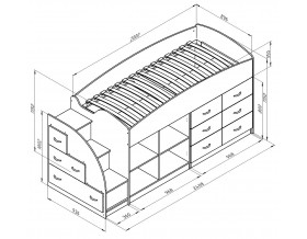 кровать чердак Дюймовочка-4.1 размеры