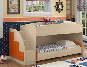 двухъярусная кровать Дюймовочка-4.2 цвет дуб молочный / оранжевый