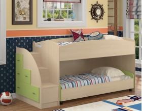 двухъярусная кровать Дюймовочка-4.2 цвет дуб молочный / салатовый
