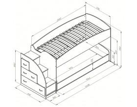 двухъярусная кровать Дюймовочка-4.2 размеры