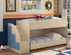 двухъярусная кровать Дюймовочка-4.2 цвет дуб молочный / голубой