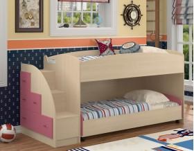 двухъярусная кровать Дюймовочка-4.2 цвет дуб молочный / розовый