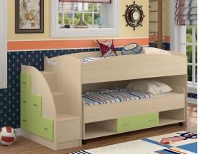 двухъярусная кровать Дюймовочка-4.3 цвет дуб молочный / салатовый