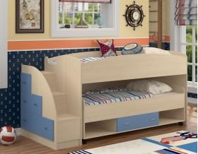 двухъярусная кровать Дюймовочка-4.3 цвет дуб молочный / голубой
