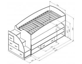 двухъярусная кровать Дюймовочка-4.3 размеры