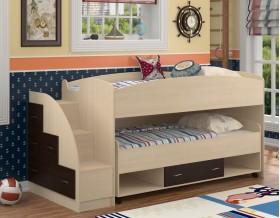 двухъярусная кровать Дюймовочка-4.3 цвет дуб молочный / венге