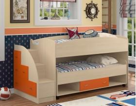 двухъярусная кровать Дюймовочка-4.3 цвет дуб молочный / оранжевый
