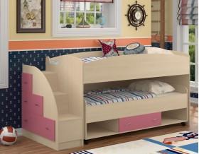 двухъярусная кровать Дюймовочка-4.3 цвет дуб молочный / розовый