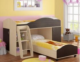 двухъярусная кровать Дюймовочка-5.1 цвет дуб молочный / венге