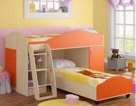 двухъярусная кровать Дюймовочка-5.1 цвет дуб молочный / оранжевый