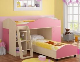 двухъярусная кровать Дюймовочка-5.1 цвет дуб молочный / розовый