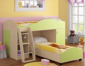 двухъярусная кровать Дюймовочка-5.1 цвет дуб молочный / салатовый