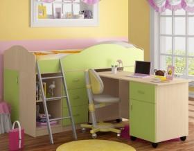 кровать чердак Дюймовочка-5.2 цвет дуб молочный / салатовый