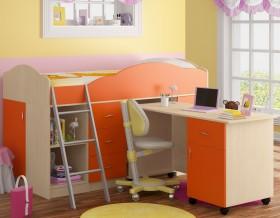кровать чердак Дюймовочка-5.2 цвет дуб молочный / оранжевый