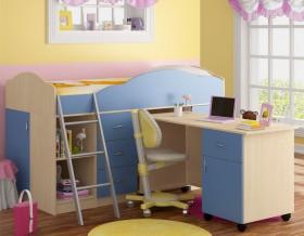 кровать чердак Дюймовочка-5.2 цвет дуб молочный / голубой