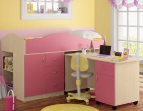 кровать чердак Дюймовочка-5.3 цвет дуб молочный / розовый