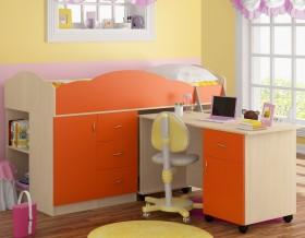 кровать чердак Дюймовочка-5.3 цвет дуб молочный / оранжевый