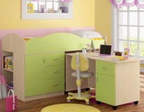 кровать чердак Дюймовочка-5.3 цвет дуб молочный / салатовый