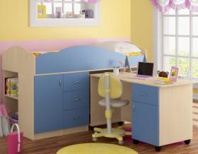 кровать чердак Дюймовочка-5.3 цвет дуб молочный / голубой