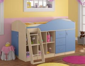 кровать чердак Дюймовочка-5.4 цвет дуб молочный / голубой