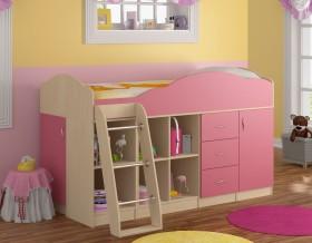кровать чердак Дюймовочка-5.4 цвет дуб молочный / розовый