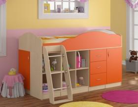 кровать чердак Дюймовочка-5.4 цвет дуб молочный / оранжевый