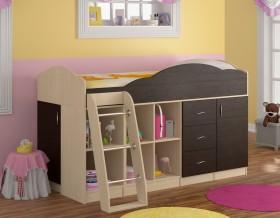 кровать чердак Дюймовочка-5.4 цвет дуб молочный / венге